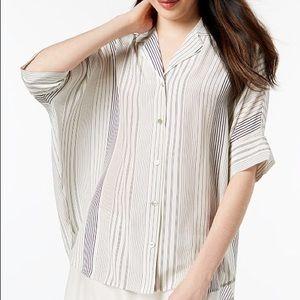 Eileen Fisher silk oversized stripe blouse